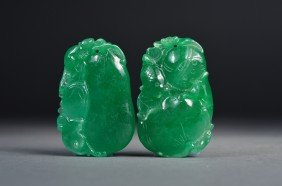 Pair Chinese Carved Green Jade Pendants