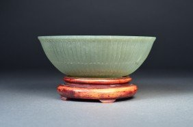 Chinese Carved Green Jade Bowl Qianlong
