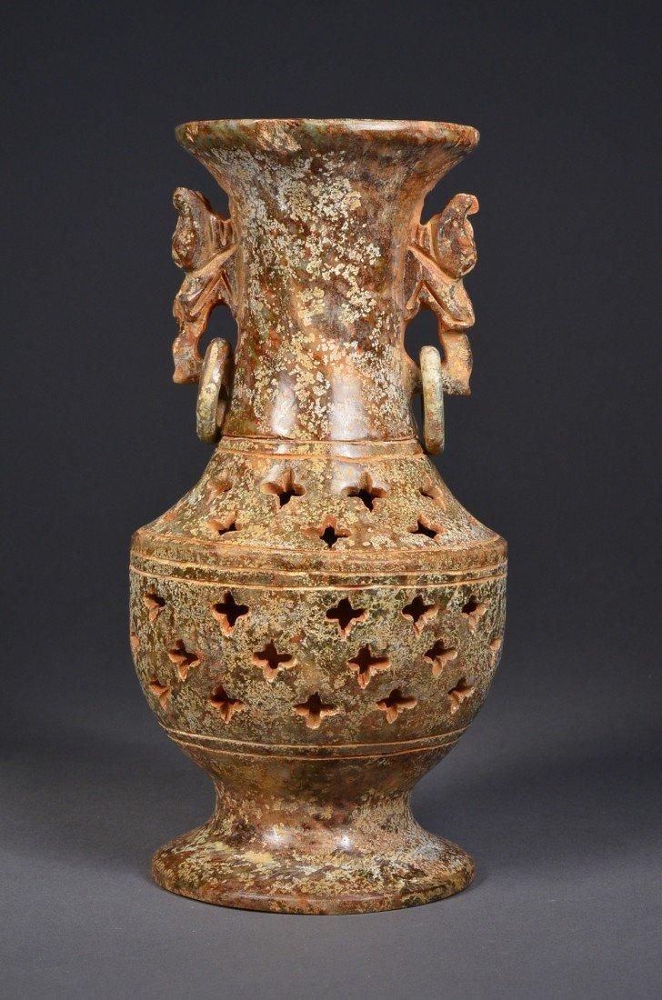172: Chinese Green Jade Vase w/ Suspended Loose Rings