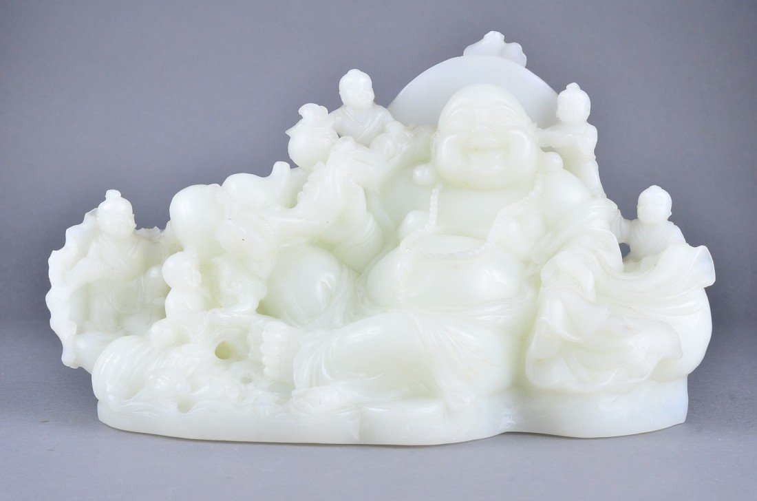 173: Chinese Carved Jade Boulder Group 8 Louhan & Budai