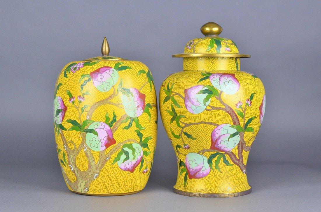 291: Pair 19th C. Cloisonne Imperial Yellow Vases