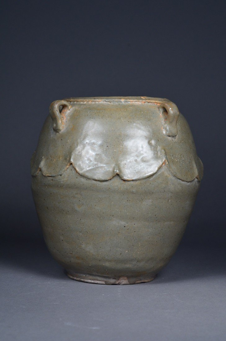 390: Old Chinese Celadon Glazed Jar with Four Handles