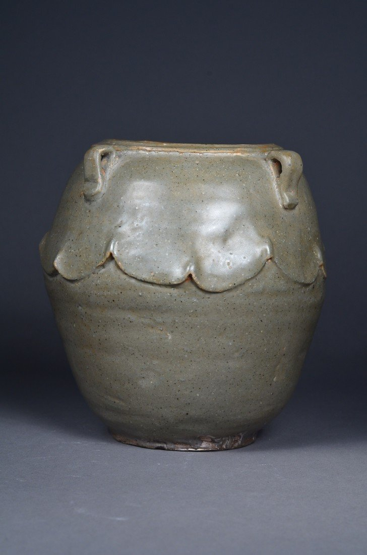 390: Old Chinese Celadon Glazed Jar with Four Handles - 2