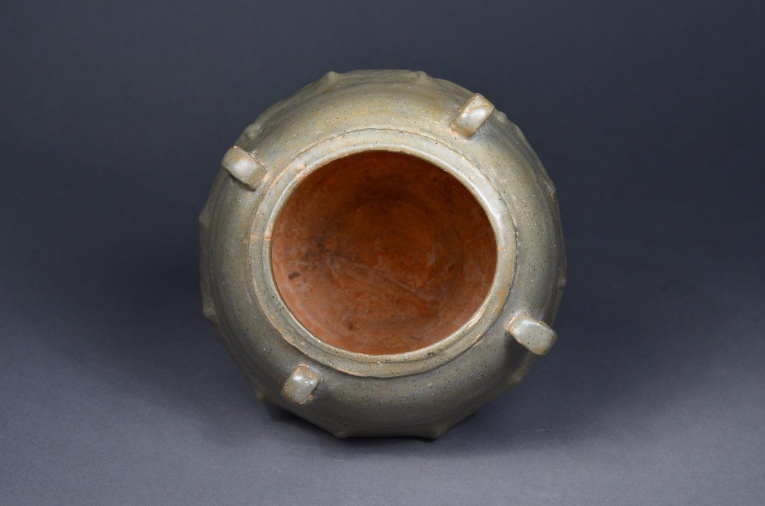 390: Old Chinese Celadon Glazed Jar with Four Handles - 3