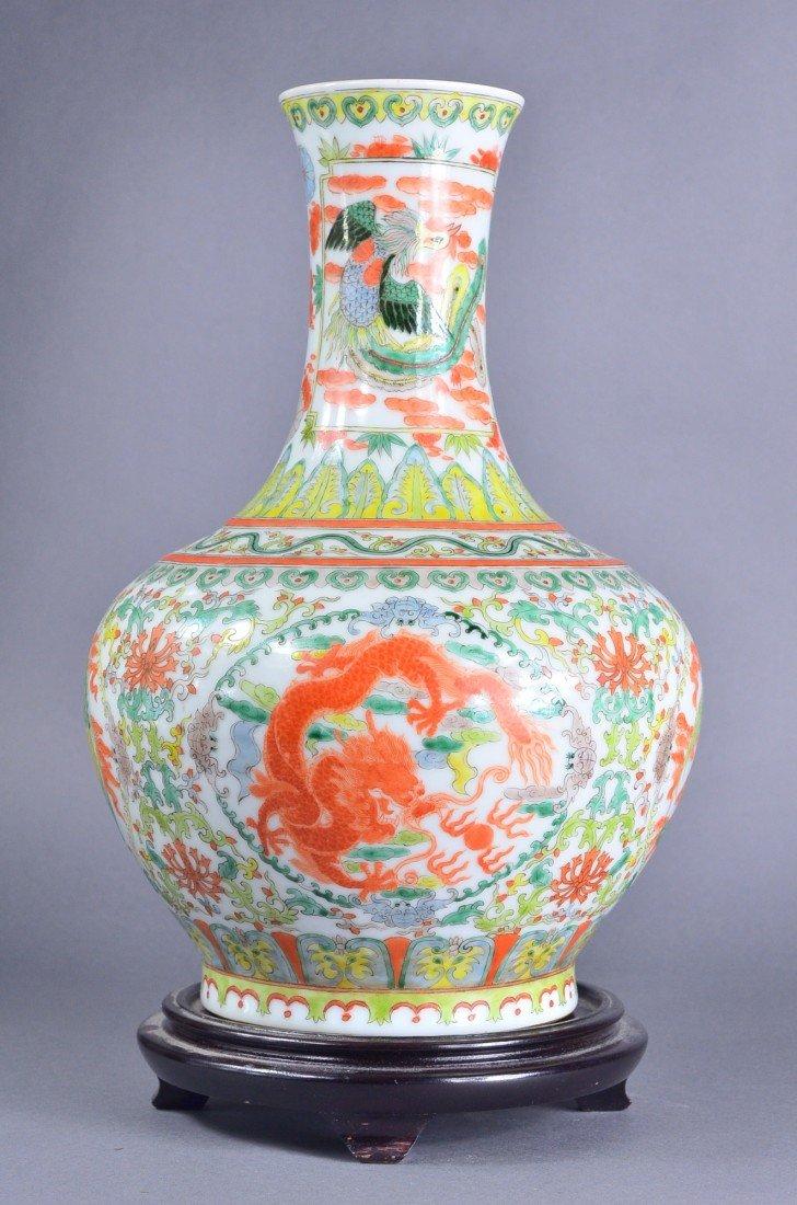 447: Chinese Famille Verte Porcelain Vase Kangxi