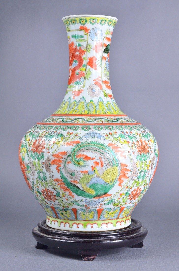 447: Chinese Famille Verte Porcelain Vase Kangxi - 2