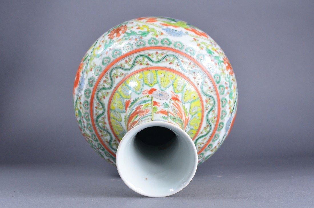 447: Chinese Famille Verte Porcelain Vase Kangxi - 3