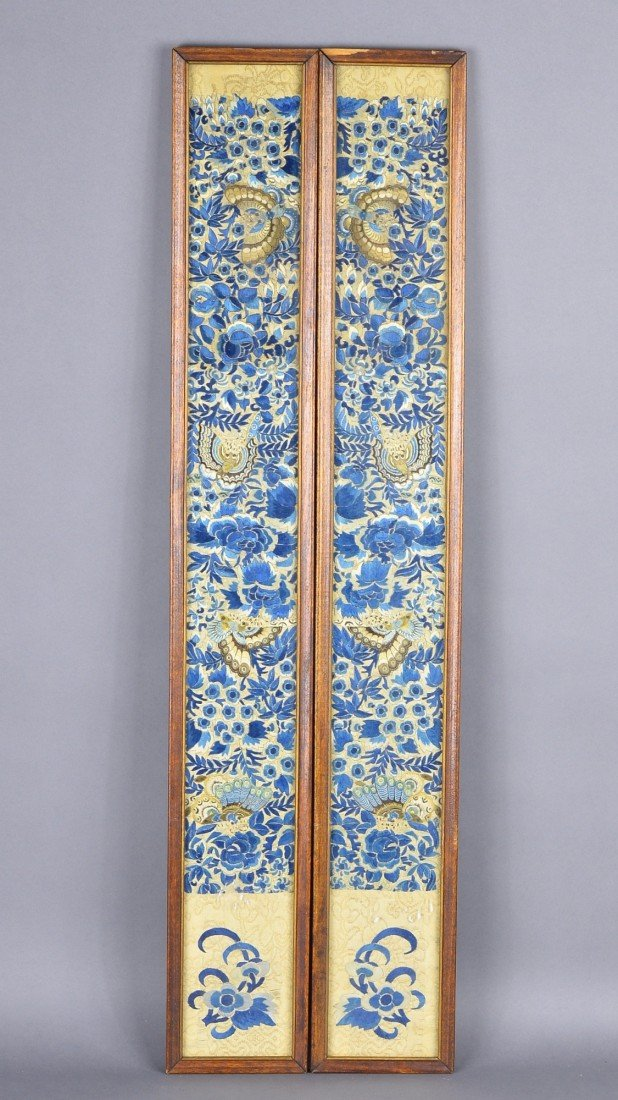 8: Framed Chinese Qing Period Silk Embroidery