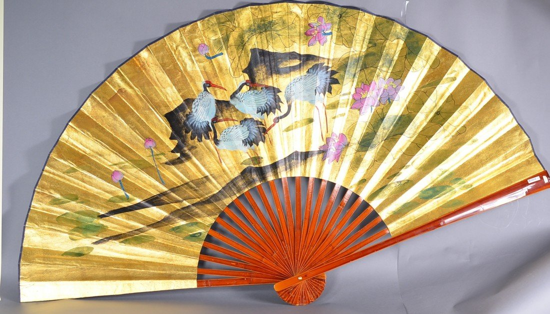 11: Large Chinese Watercolour Fan Painting