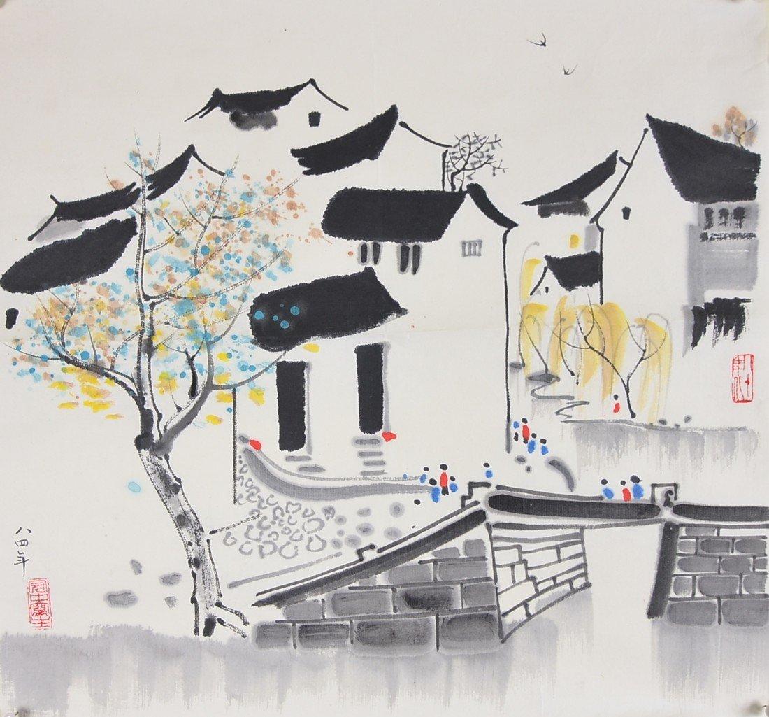 12: Chinese Watercolour Signed Wu Guan Zhong