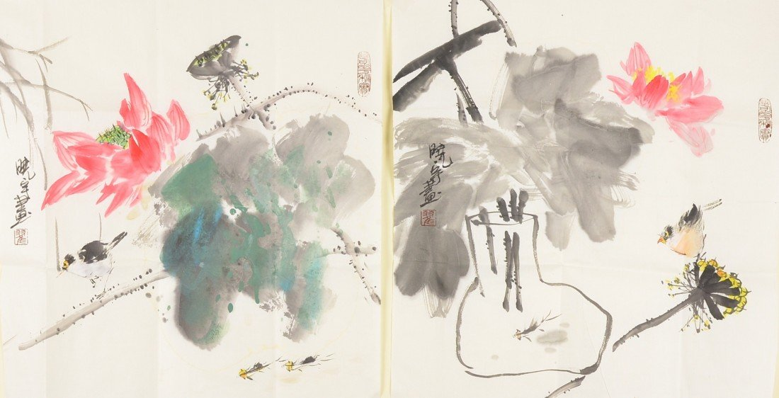 19: Pair Chinese Watercolour Painting