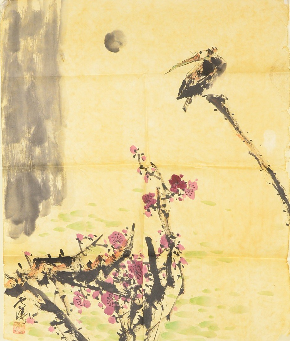 20: Chinese Watercolour Painting w/ Certificate