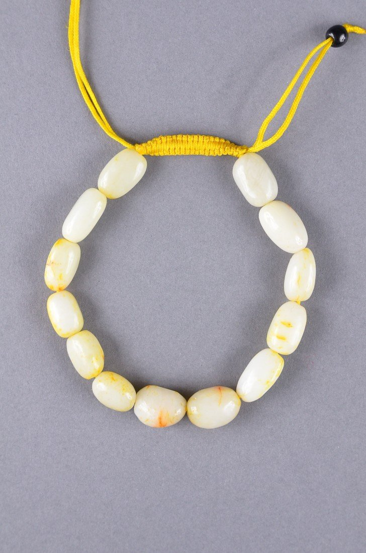 69: Chinese White Jade Pebble Bracelet