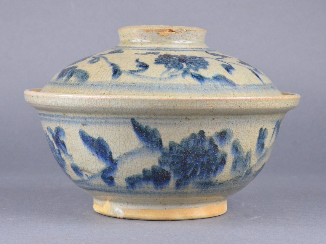 292: Chinese Blue & White Porcelain Bowl with Cover
