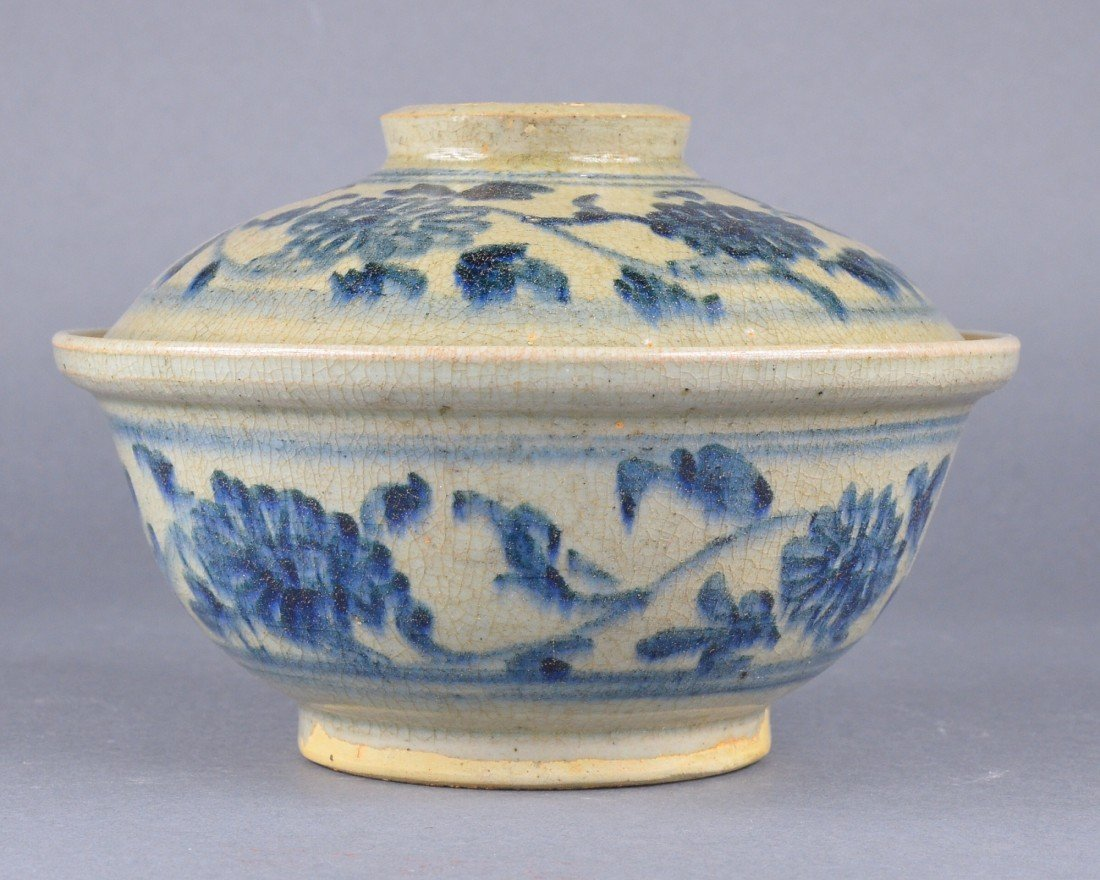 292: Chinese Blue & White Porcelain Bowl with Cover - 2