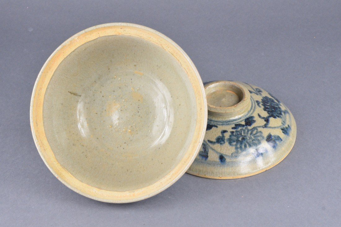 292: Chinese Blue & White Porcelain Bowl with Cover - 3