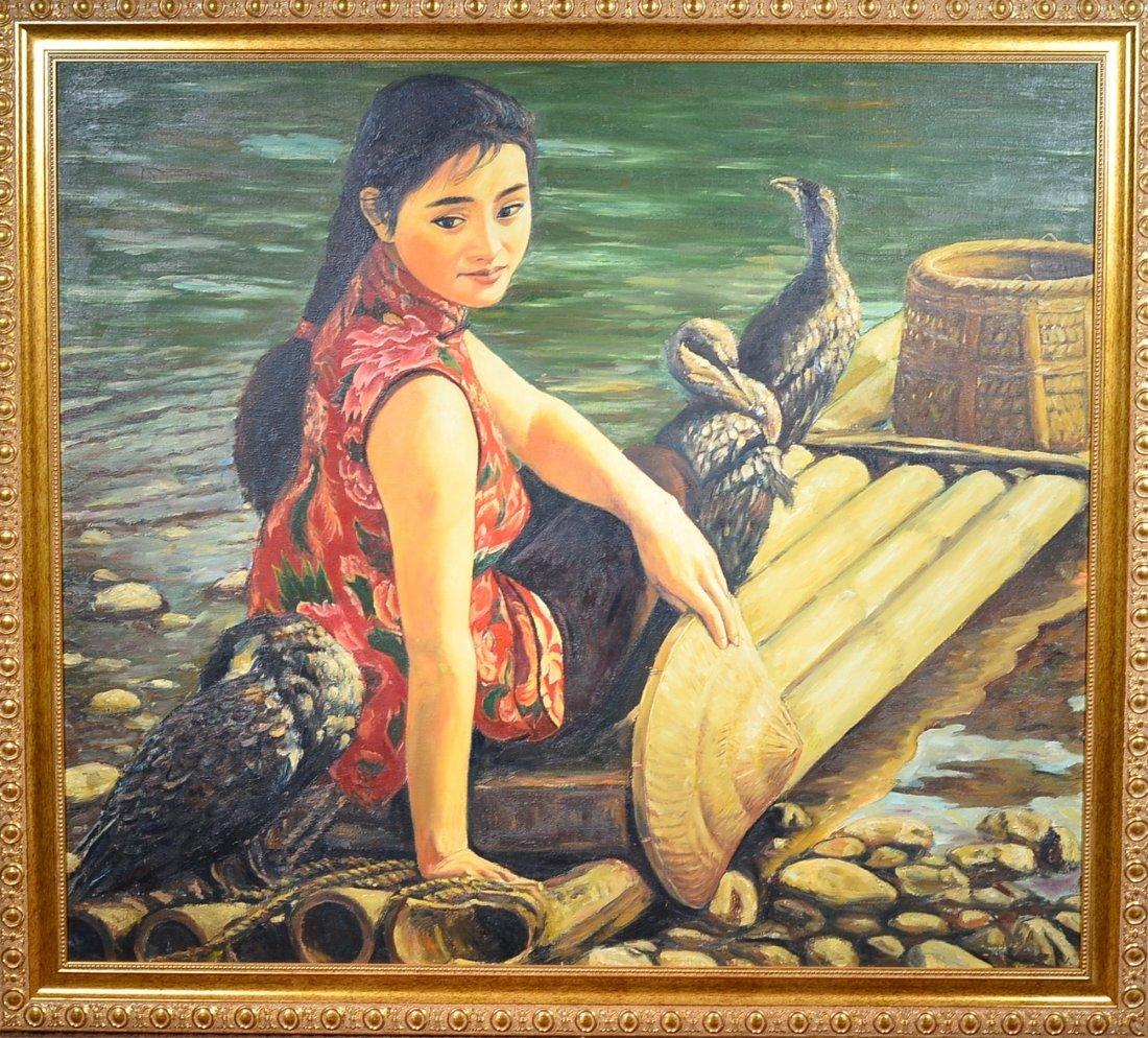 8: Oil on Canvas Woman at Beach 97 cm X 90 cm