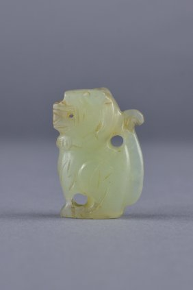 Chinese Carved White Jade Toggle Of Lion