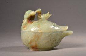 Chinese Celadon Jade Box Mandarin Duck