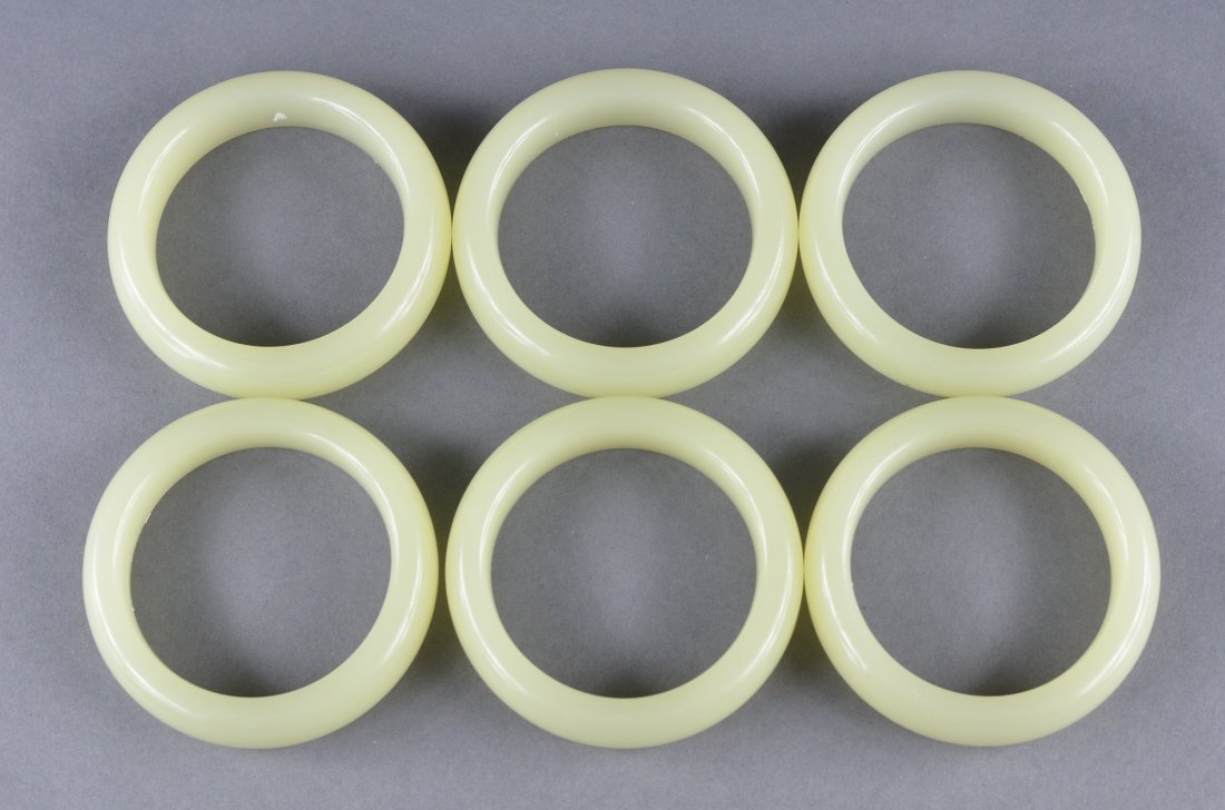 124: Set 6 Chinese Carved White Jade Bangles