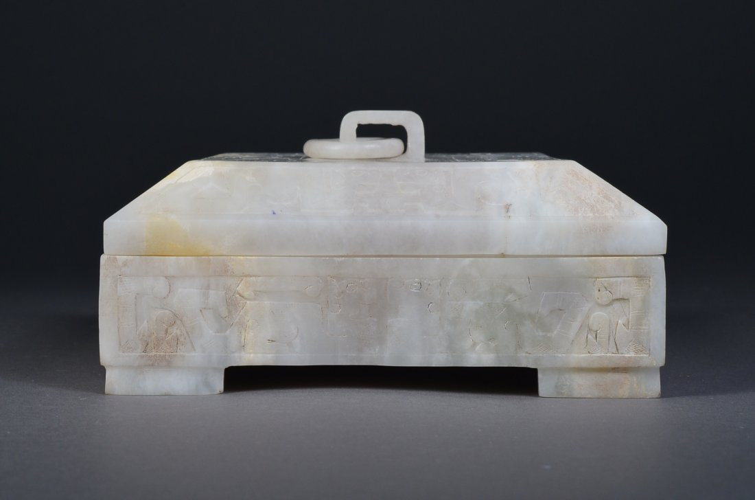 139: 18th C.White Jade Dragon Seal with White Jade Box