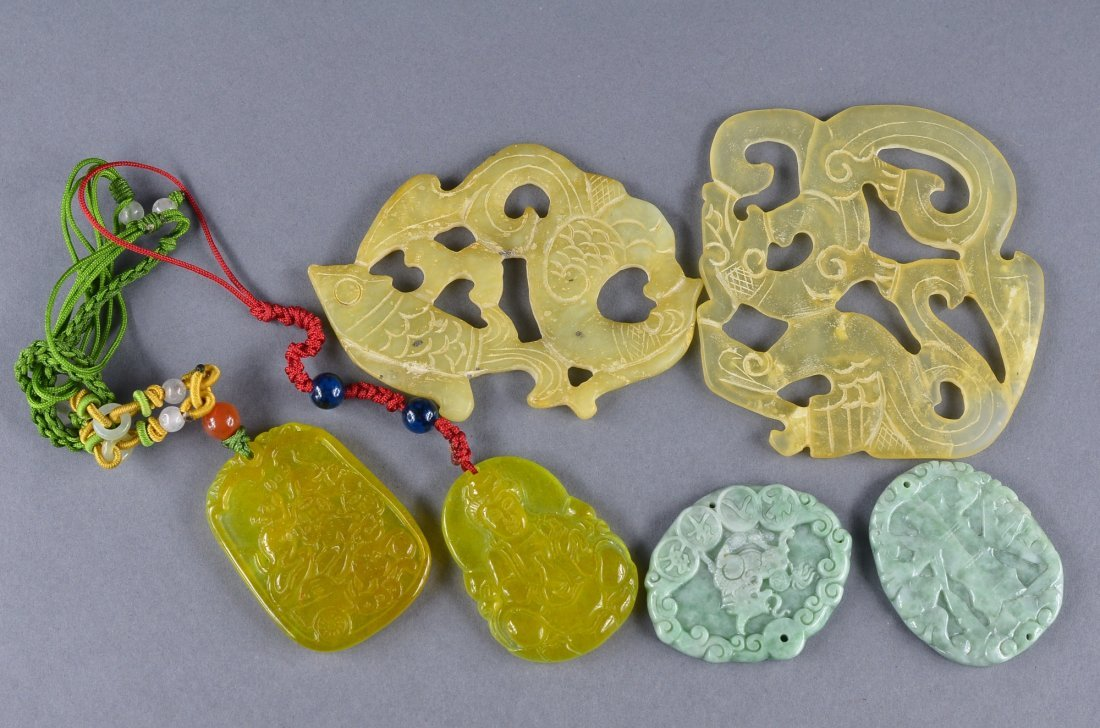 142: Set 6 Chinese Carved Jade & Hardstone Pendants