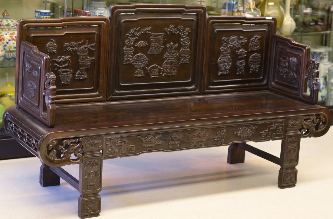 227: 17th/18th C. Chinese Rosewood Carved Opium Bed