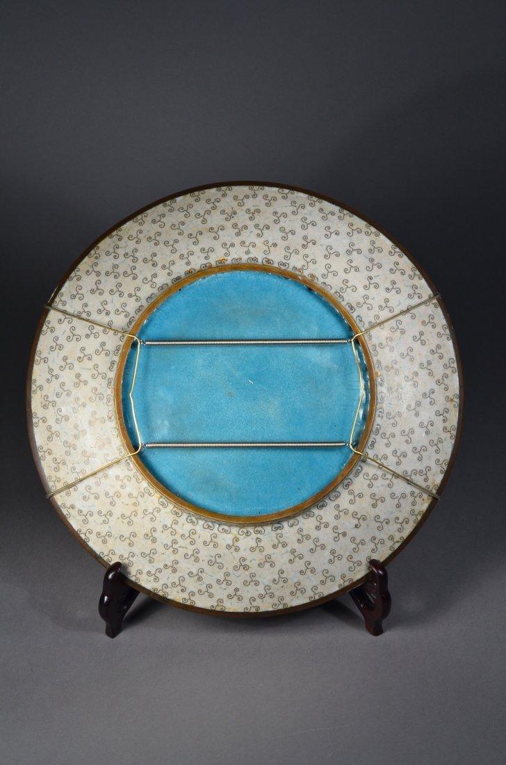 261: Chinese Republic Bronze Cloisonne Dragon Plate - 2