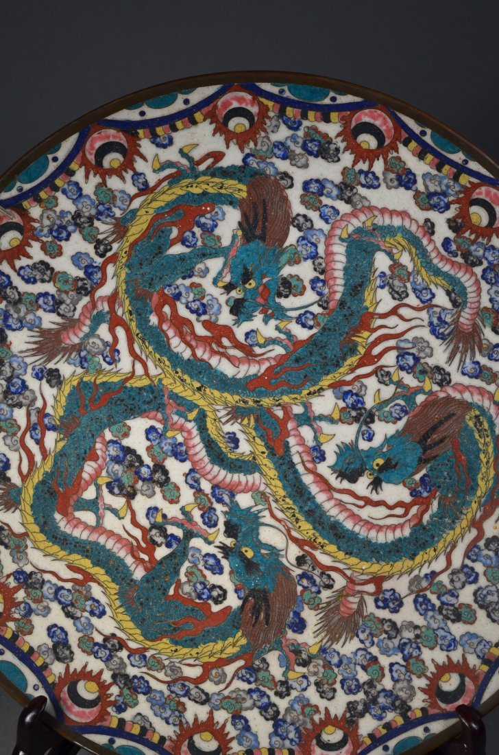 261: Chinese Republic Bronze Cloisonne Dragon Plate - 3