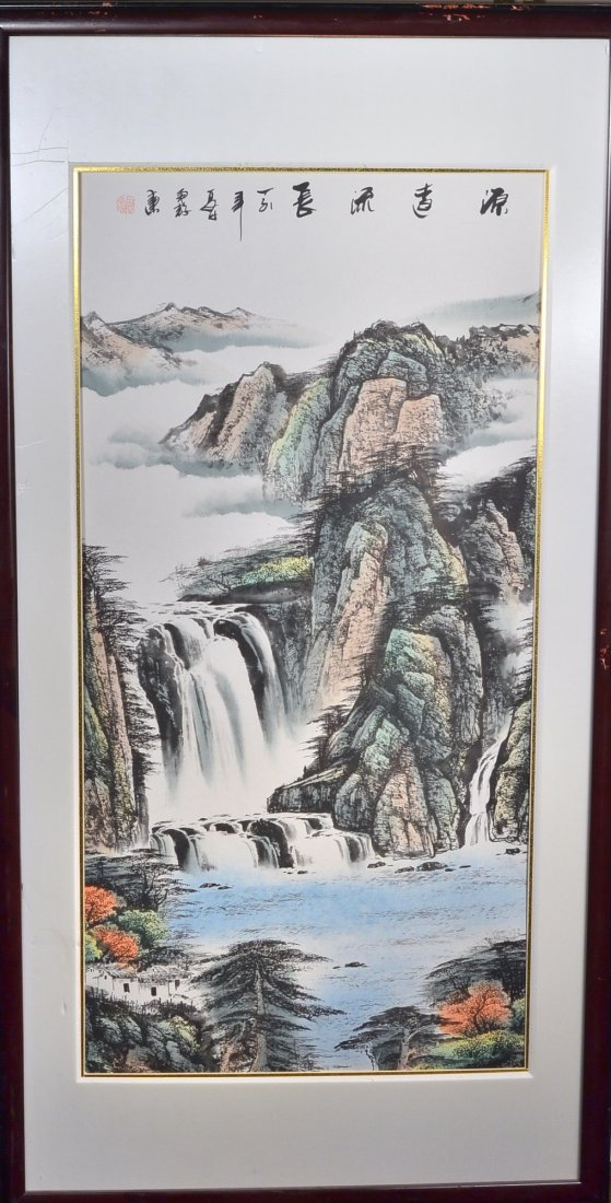 10: Framed Chinese Watercolour on Paper: Waterfall