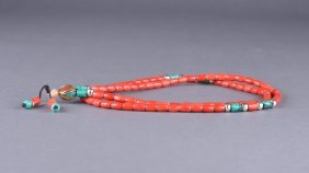 Chinese Carved Coral Necklace W/ Turquoise Pieces