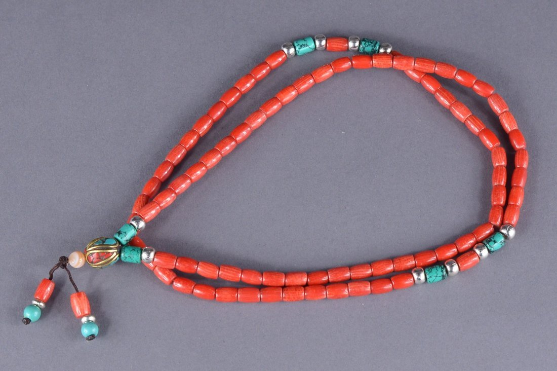 22: Chinese Carved Coral Necklace w/ Turquoise Pieces - 3