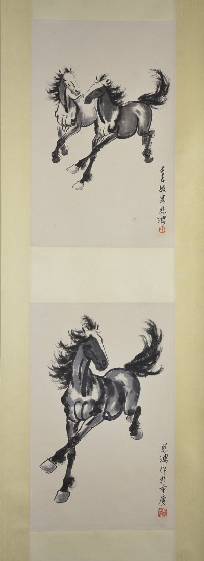 29: Xu Beihong Chinese Watercolour Hanging Scroll