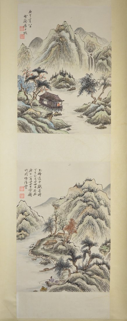 32: Fu Boashi Chinese Watercolour Hanging Scroll