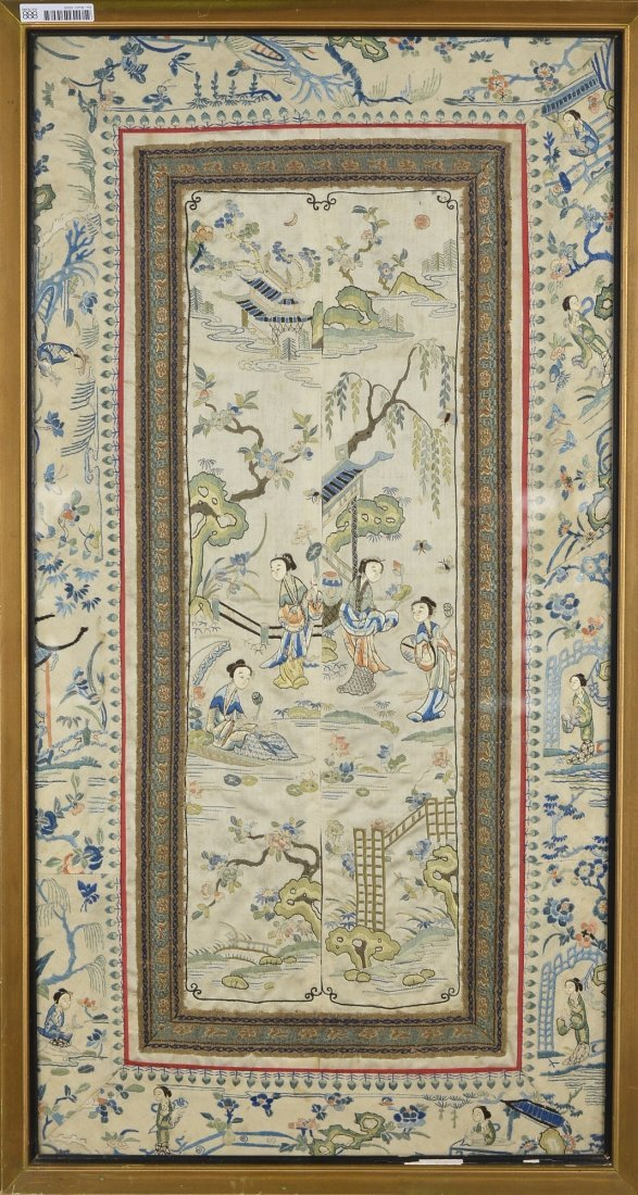 35: Chinese Qing/Minguo Embroidery of Courtyard Scene