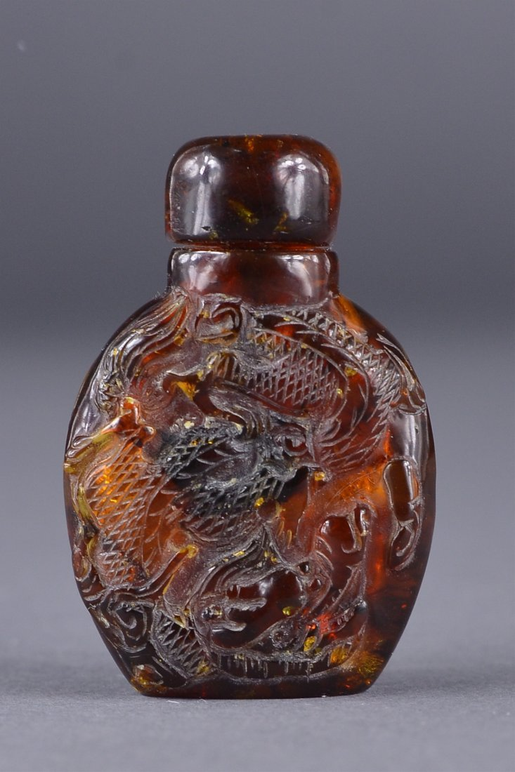 38: 19th C. Chinese Carved Amber Snuff Bottle Dragon