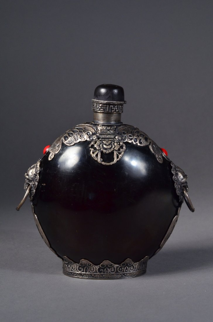 43: Large Chinese Shou Snuff Bottle Marked