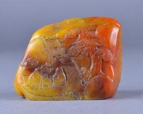 Chinese Carved Shoushan Stone Boulder