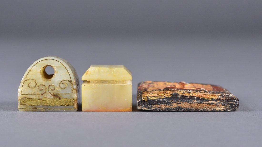 117: Set 3 Chinese Jade Seals & Plaque