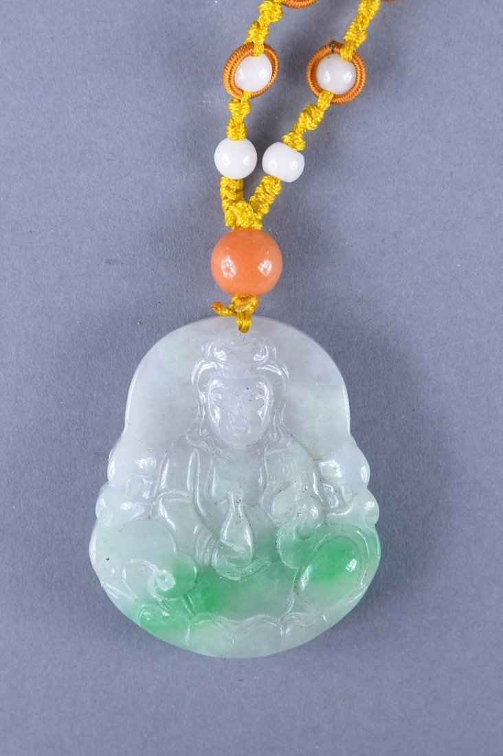 120: Chinese Carved Green Jade Pendant Guanyin