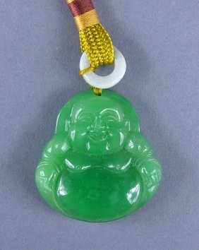 Chinese Carved Green Jade Laughing Budai Pendant