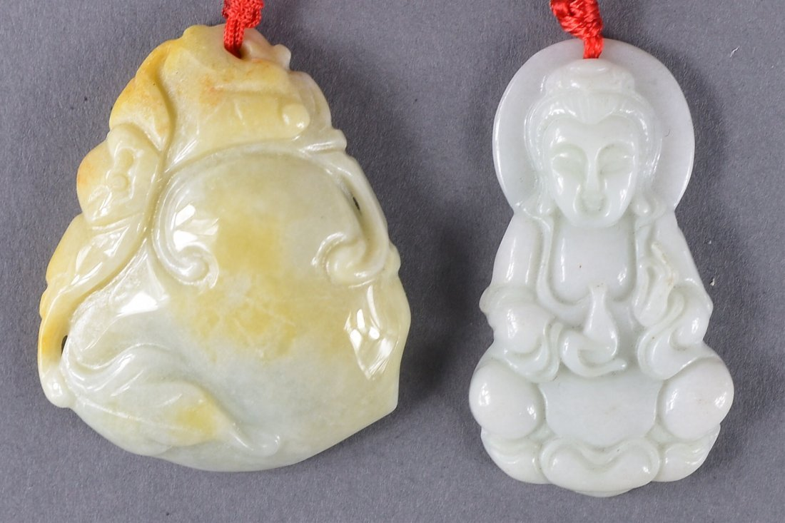 122: Set of Two 20th C. Chinese Carved Jade Pendants