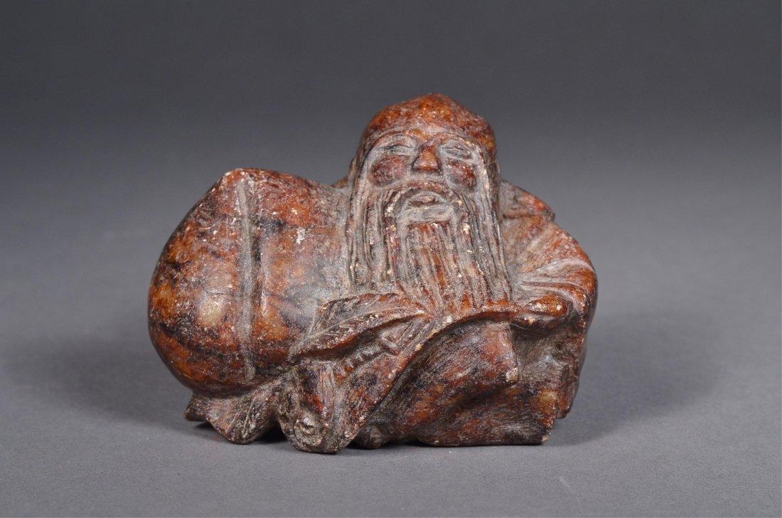 124: Chinese Carved Nephrite Jade Shou Lao Figure