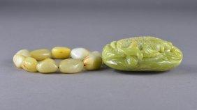 Chinese Carved Shoushan Stone Carp & Jade Bracelet