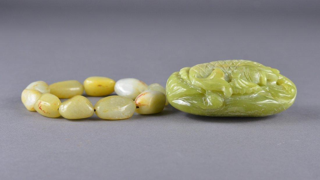 127: Chinese Carved Shoushan Stone Carp & Jade Bracelet