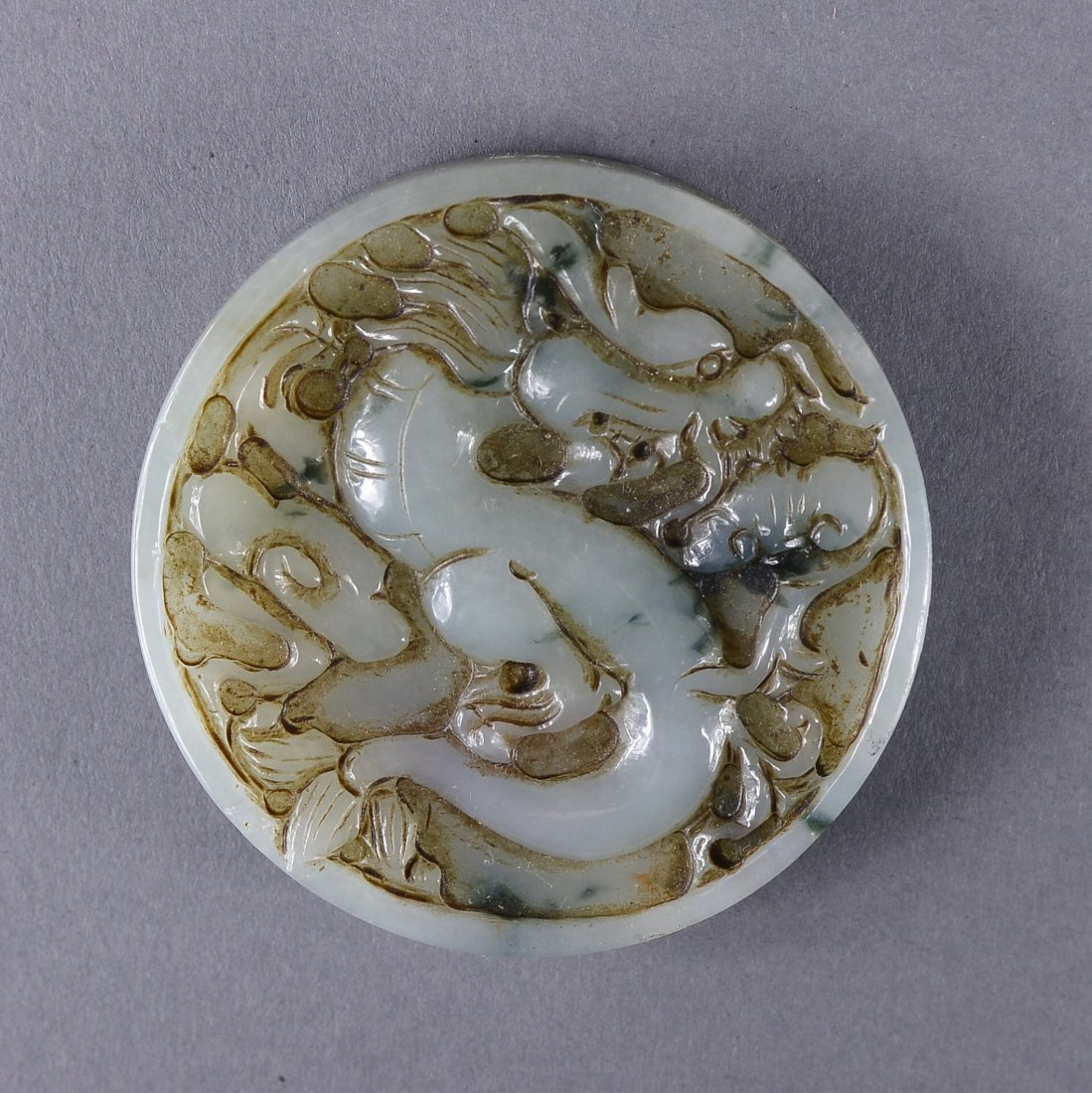 135: Chinese Carved White Jade Pendant of Dragon