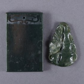 Set 2 Chinese Spinach Green Jade Pendants