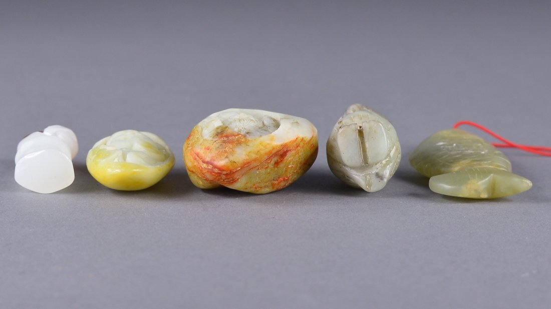 137: Set of Five Various Chinese Jade Carvings