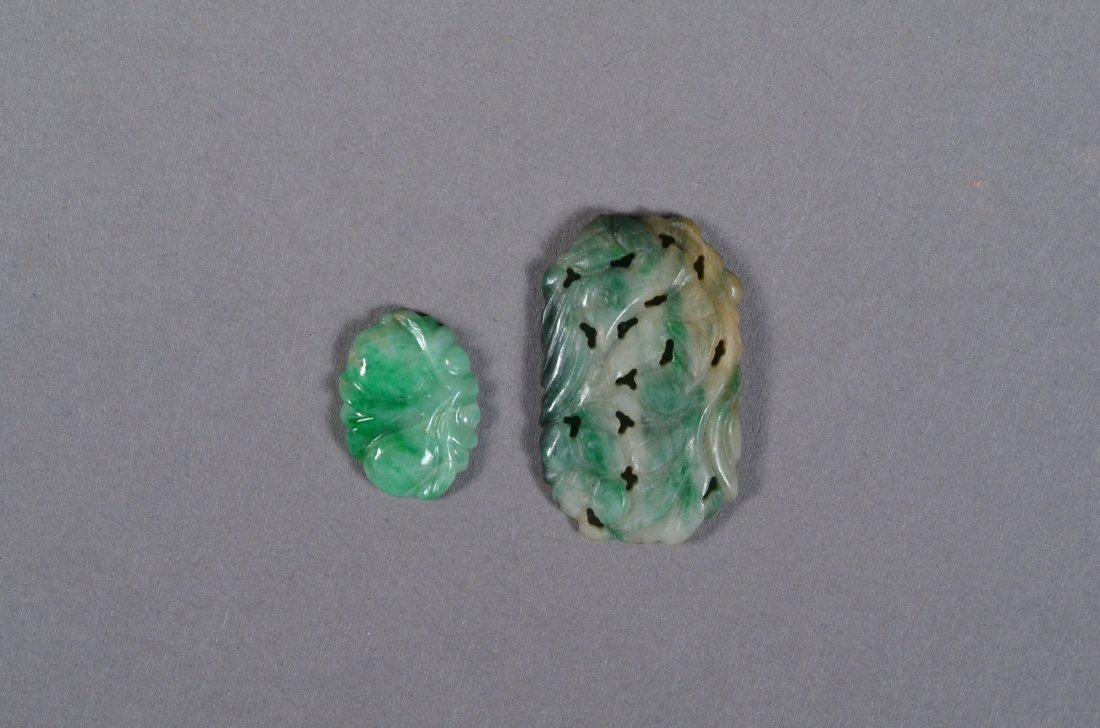 142: Set of Two Chinese White & Green Jade Pendants