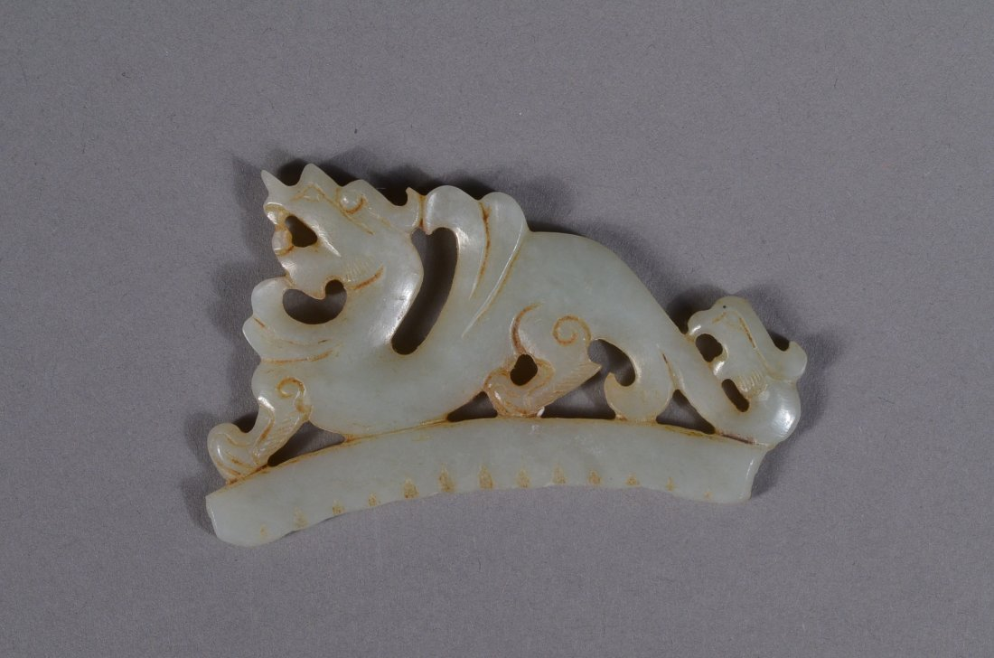 144: Chinese White Jade Dragon Pendant